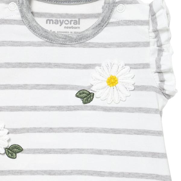 Mayoral Σετ 2 Φορμάκια Για Νεογέννητο Κορίτσι Μαργαρίτες, Γκρί