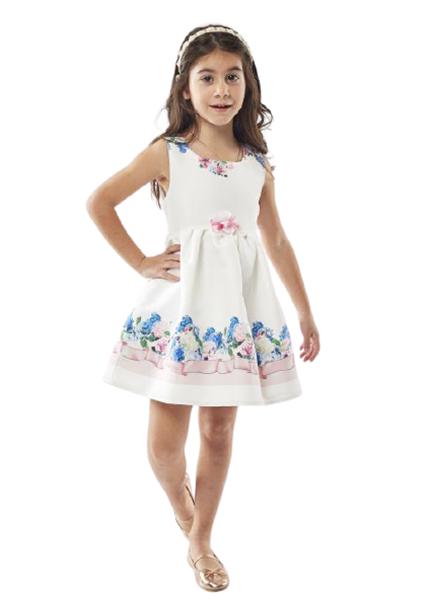 Εβίτα Fashion Παιδικό Αμπιγιέ Φόρεμα Με Λουλούδια, Λευκό