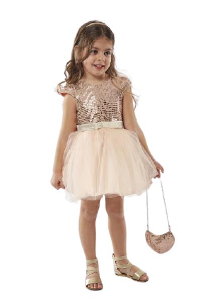 Εβίτα Fashion Παιδικό Αμπιγιέ Φόρεμα Παγιέτες Με Τσαντάκι, Ροζ