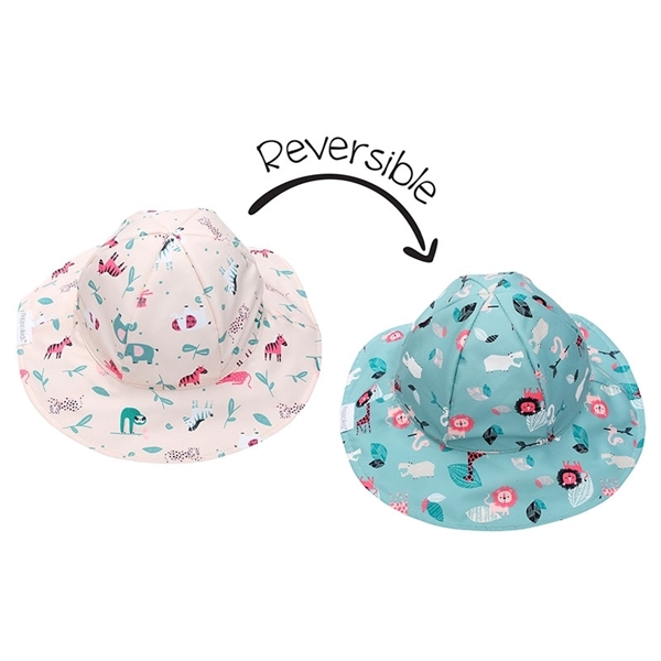FlapJackKids Αντηλιακό Καπέλο Διπλής Όψης UPF 50+ Pink Zoo