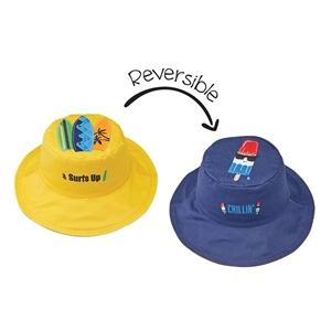 FlapJackKids Αντηλιακό Καπέλο Διπλής Όψης UPF 50+ Surfer/Παγωτό