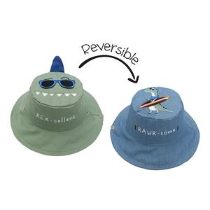 FlapJackKids Αντηλιακό Καπέλο Διπλής Όψης UPF 50+ Dino/Surf (Cotton)