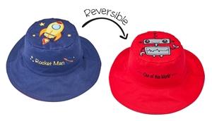 FlapJackKids Αντηλιακό Καπέλο Διπλής Όψης UPF 50+ Διαστημόπλοιο (Cotton)