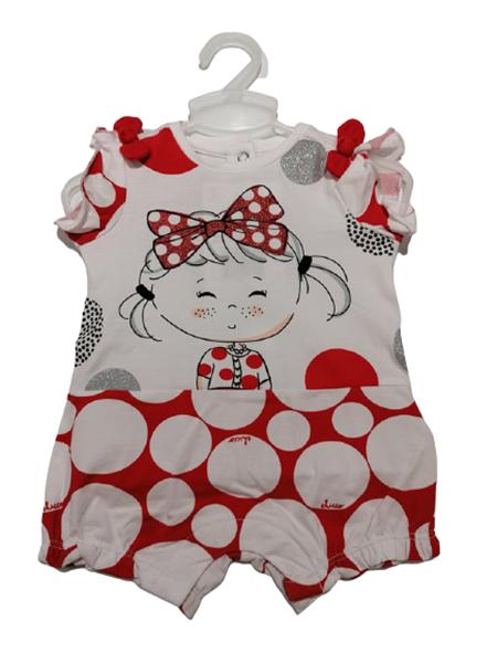 Chicco Κοντό Φορμάκι Για Νεογέννητο Κορίτσι Πουά, Κόκκινο