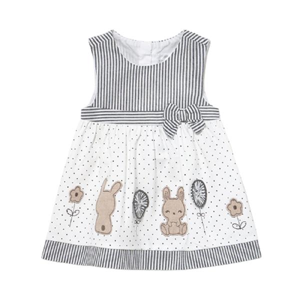 Mayoral Bebe Φόρεμα Με Κουνελάκια Για Νεογέννητο Κορίτσι, Μαύρο