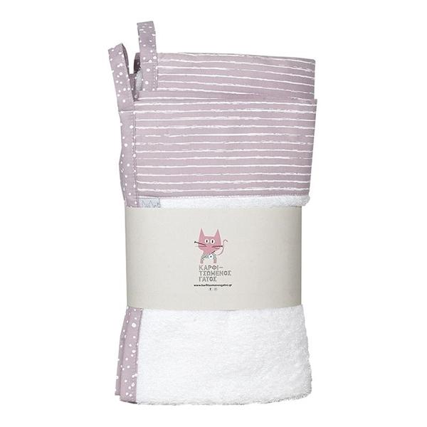 Καρφιτσωμένος Γάτος - Σετ Πετσέτες Μπάνιου Stripe Dusty Pink