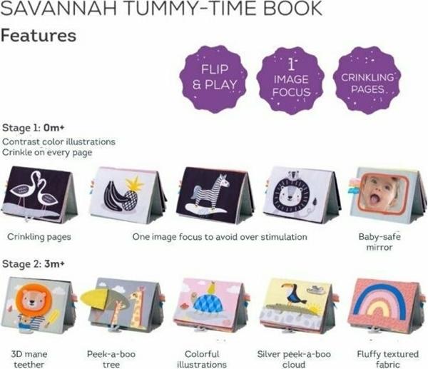 Taf Toys Εκπαιδευτικό Βιβλιαράκι Savannah Tummy-time