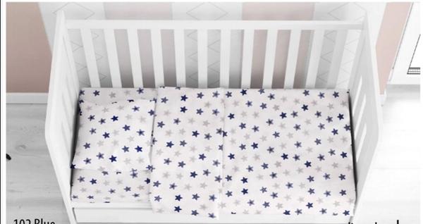 Dim Collection - Σετ σεντόνια Φανελένια κούνιας 3τμχ - Αστέρια Μπλε