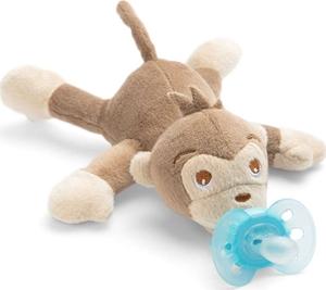 Philips Avent Ultra Soft Snuggle Μαϊμού Ζωάκι Αγκαλιάς με Ορθοδοντική Πιπίλα Σιλικόνης 1τμχ
