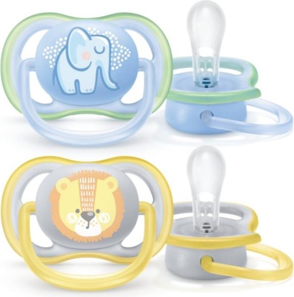 Philips Avent Πιπίλα Air, 0-6 μηνών+, Elephant/Lion (2 τεμάχια)