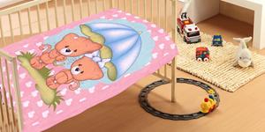 Dim Collection Κουβέρτα Κούνιας 110x140 - Rainy Bears Pink