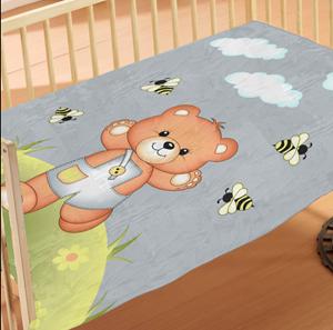 Dim Collection Κουβέρτα Κούνιας 110x140 - Teddy Bear Grey