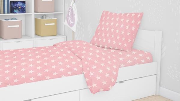 Dim Collection -Σετ Σεντόνια 3τμχ Για Μονό Κρεβάτι -Ροζ Αστέρια