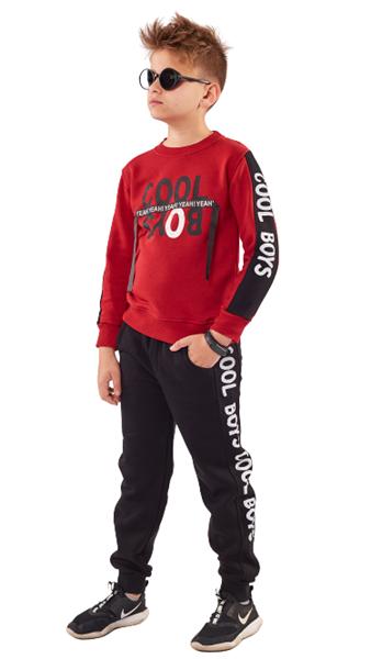 Hashtag Σετ Φόρμας Μπλούζα Και Παντελόνι Φούτερ Cool Boy, Κόκκινο