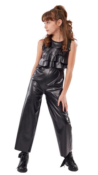 Εβίτα Fashion Ολόσωμη Φόρμα Δερματίνη, Μαύρο