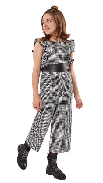 Εβίτα Fashion Ολόσωμη Φόρμα Pied de Poule, Μαύρο