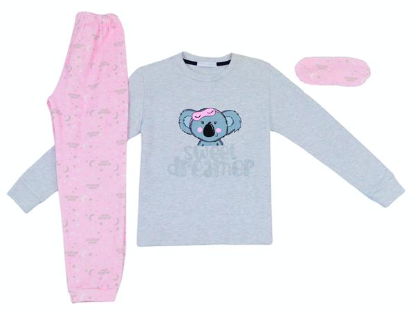 Εβίτα Fashion Hommies Πυτζάμα Για Κορίτσι Panda, Γκρί