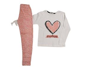 Εβίτα Fashion Hommies Πυτζάμα Για Κορίτσι Καρδιές Με Μάσκα Νυκτός, Κοραλί