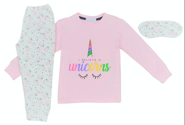 Εβίτα Fashion Hommies Παιδική Πυτζάμα Για Κορίτσι Καρδιές Με Μάσκα Unicorns, Ροζ