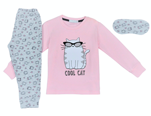 Εβίτα Fashion Hommies Παιδική Πυτζάμα Για Κορίτσι Καρδιές Με Μάσκα Cool Cat, Ροζ