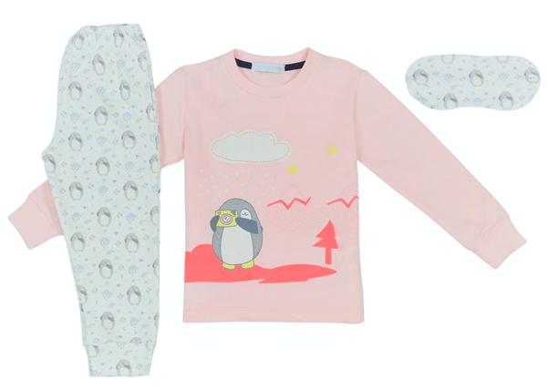 Εβίτα Fashion Hommies Παιδική Πυτζάμα Για Κορίτσι Καρδιές Με Μάσκα Penguin, Ροζ