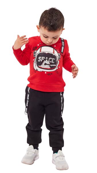 Hashtag Παιδικό Σετ Φόρμας Μπλούζα Και Παντελόνι Space, Κόκκινο