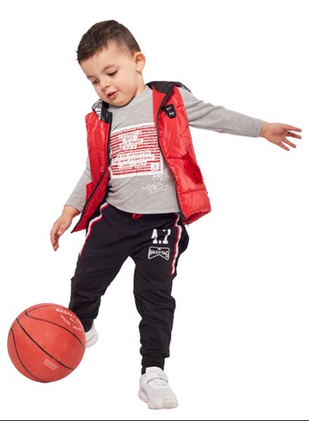 Hashtag Παιδικό Σετ Φόρμας 3 τμχ Γιλέκο, Μπλούζα Και Παντελόνι Φούτερ, Κόκκινο