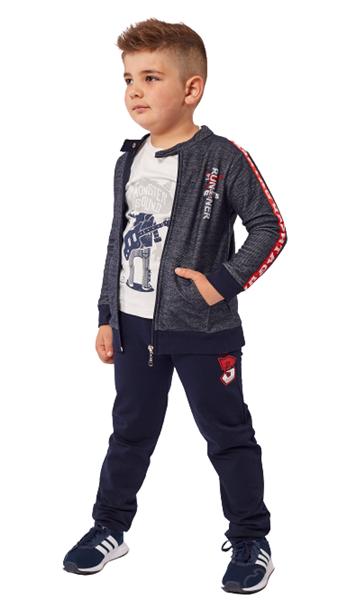 Hashtag Παιδικό Σετ Φόρμας 3 τμχ Ζακέτα, Μπλούζα Και Παντελόνι Φούτερ Runner, Μπλέ