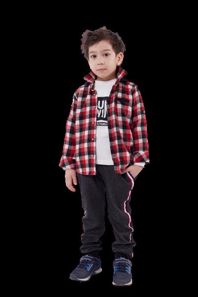 Hashtag Παιδικό Σετ 3 Τμχ Πουκάμισο Καρώ, Μπλούζα Και Παντελόνι Φούτερ, Κόκκινο