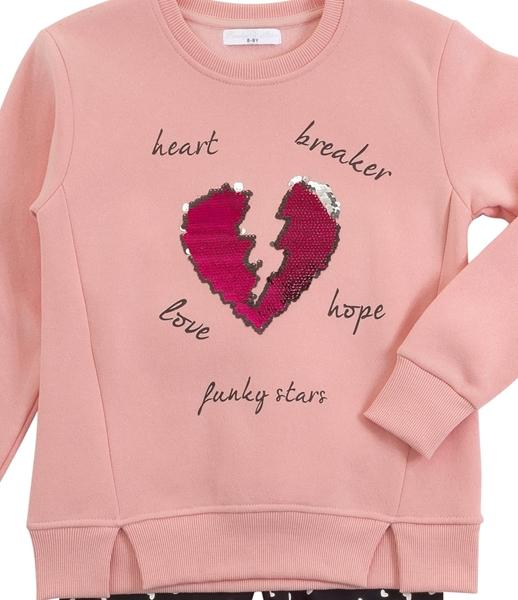 Funky Σετ Κολάν Με Φούτερ Για Κορίτσι Heart Breaker, Ροζ