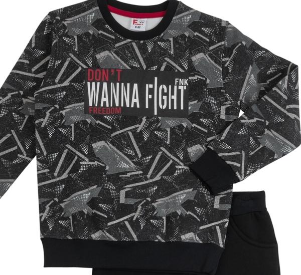 Funky Εφηβικό Σετ Φόρμας Για Αγόρι Don't Wanna Fight, Μαύρο