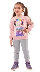 Εβίτα Fashion Παιδικό Σετ Φόρμας Με Ιριδίζον Τσέπη, Ροζ