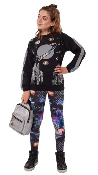Εβίτα Fashion Σετ Φόρμας Με Κολάν Planet, Μαύρο