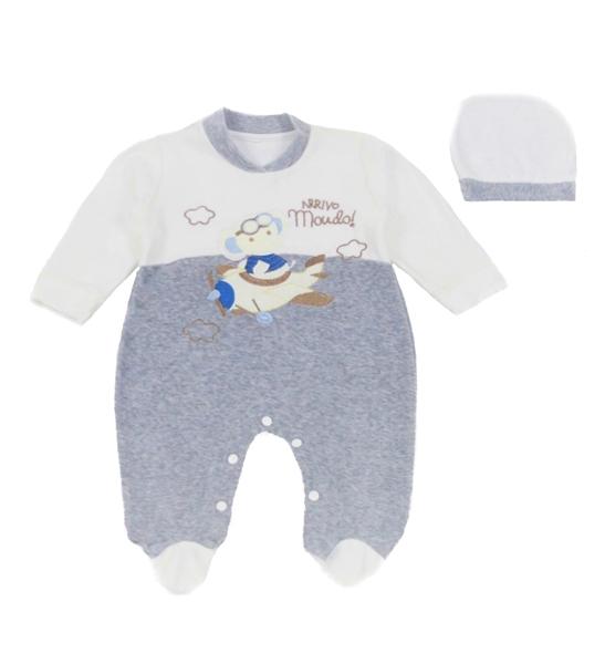 Ebita Fashion Mini Φορμάκι Για Αγόρι Ελικόπτερο, Γκρί