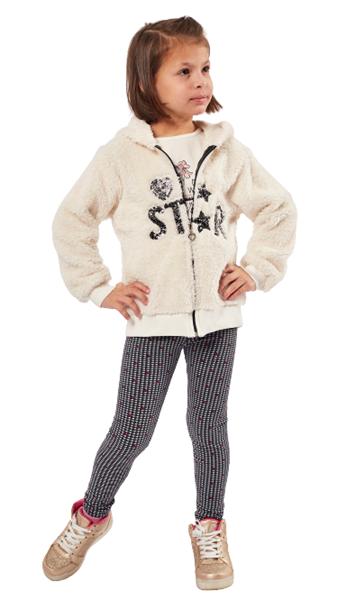 Εβίτα Fashion Παιδικό Σετ 3 Τμχ Ζακέτα, Μπλούζα Και Κολάν Star, Εκρού