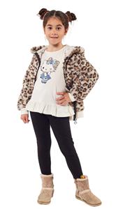 Εβίτα Fashion Παιδικό Σετ 3 Τμχ Ζακέτα, Μπλούζα Και Κολάν Animal, Μαύρο