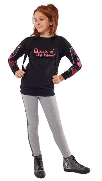Εβίτα Fashion Σετ Με Κολάν Και Φούτερ Μπλούζα Queen, Μαύρο