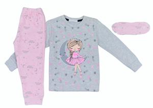 Εβίτα Fashion Hommies Παιδική Πυτζάμα Για Κορίτσι Καρδιές Με Μάσκα Νυκτός Πριγκίπισσα, Γκρί