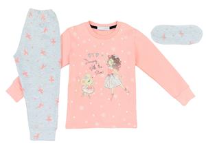 Εβίτα Fashion Hommies Παιδική Πυτζάμα Για Κορίτσι Καρδιές Με Μάσκα Νυκτός Μπαλαρίνα, Ροζ