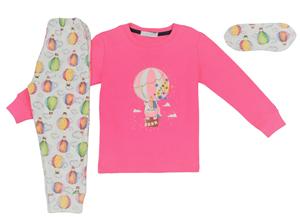 Εβίτα Fashion Hommies Παιδική Πυτζάμα Για Κορίτσι Καρδιές Με Μάσκα Νυκτός Αερόστατο, Φούξια