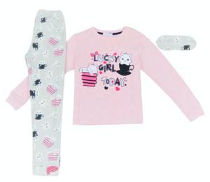 Εβίτα Fashion Hommies Πυτζάμα Για Κορίτσι Καρδιές Με Μάσκα Νυκτός Lucky Girl, Ροζ