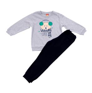 Trax Παιδική Πυτζάμα Για Αγόρι Αρκούδος Με Κασκόλ, Γκρί