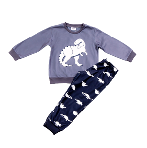Trax Παιδική Πυτζάμα Βελουτέ Για Αγόρι Δεινόσαυρος, Μπλέ