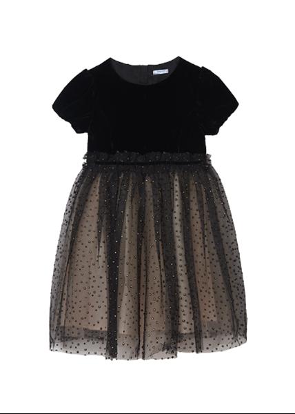 Mayoral Φόρεμα Βελουτέ Με Τούλι Για Κορίτσι, Μαύρο