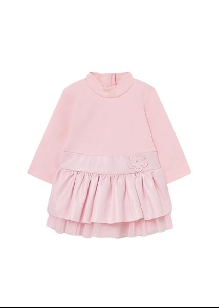 Mayoral Bebe Φόρεμα Συνδυασμένο Με Πολυδερματίνη Για Νεογέννητο Κορίτσι, Ροζ