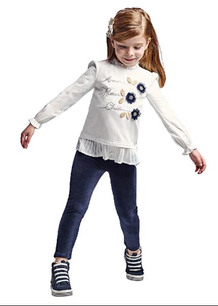 Mayoral Παιδικό Σετ Κολάν Βελουτέ Με Μπλούζα Για Κορίτσι , Μπλέ
