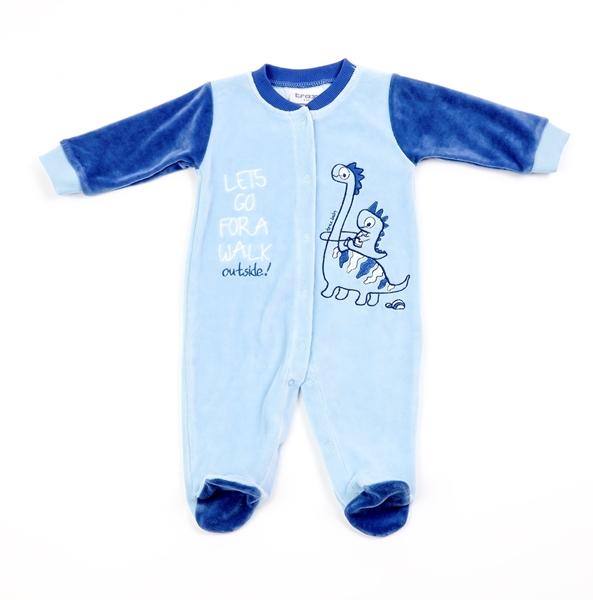Trax Φορμάκι Βελουτέ Για Νεογέννητο Αγόρι Δεινόσαυρος, Σιέλ