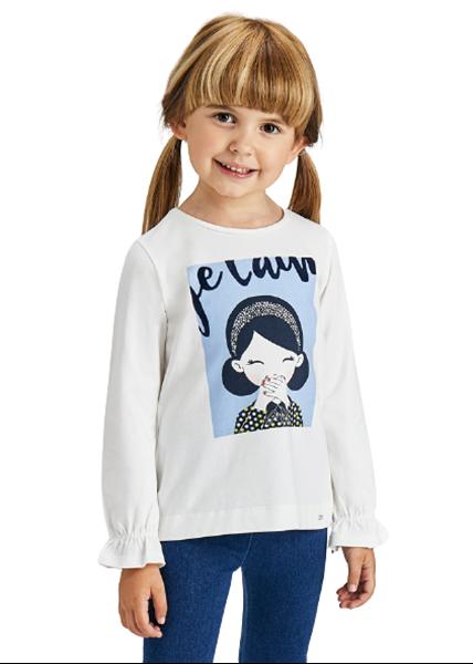 Mayoral Παιδική Μπλούζα Μακρυμάνικη Για Κορίτσι, Εκρού Γαλάζιο