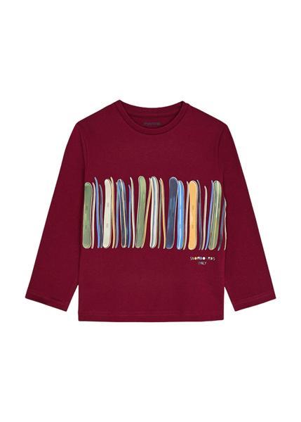 Mayoral Παιδική Μπλούζα ECOFRIENDS Για Αγόρι Λωρίδες, Μπορντώ