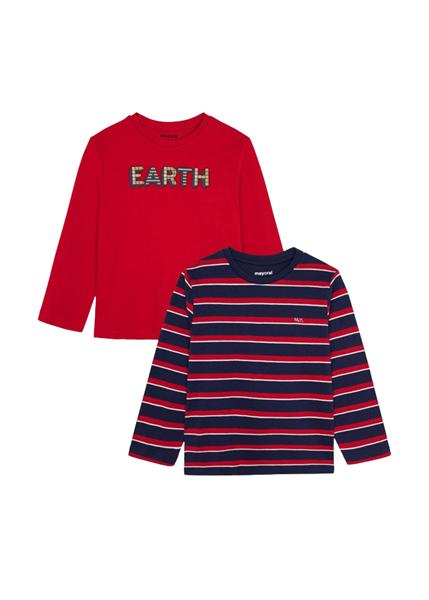 Mayoral Σετ 2 Τμχ Παιδικές Μπλούζες ECOFRIENDS Για Αγόρι Earth, Μπλέ Κοκκινο